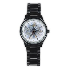 Winter Frost Ice Sheet Leaves Stainless Steel Round Watch
