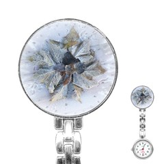 Winter Frost Ice Sheet Leaves Stainless Steel Nurses Watch