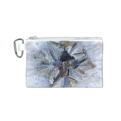 Winter Frost Ice Sheet Leaves Canvas Cosmetic Bag (s)