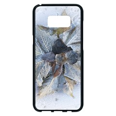 Winter Frost Ice Sheet Leaves Samsung Galaxy S8 Plus Black Seamless Case