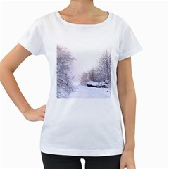 Winter Snow Ice Freezing Frozen Women s Loose Fit T Shirt (white)