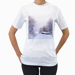 Winter Snow Ice Freezing Frozen Women s T Shirt (white)