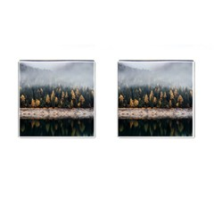 Trees Plants Nature Forests Lake Cufflinks (square)