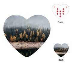 Trees Plants Nature Forests Lake Playing Cards (heart)
