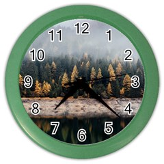 Trees Plants Nature Forests Lake Color Wall Clocks