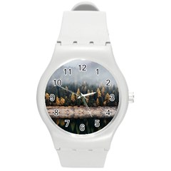 Trees Plants Nature Forests Lake Round Plastic Sport Watch (m)