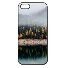Trees Plants Nature Forests Lake Apple Iphone 5 Seamless Case (black)