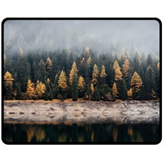 Trees Plants Nature Forests Lake Double Sided Fleece Blanket (medium)