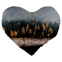 Trees Plants Nature Forests Lake Large 19  Premium Flano Heart Shape Cushions