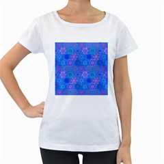 Geometric Hand Drawing Pattern Blue  Women s Loose Fit T Shirt (white)