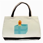 Funny Cute Kids Art St.Nicholas St. Nick Sinterklaas hiding in a Gift Box Basic Tote Bag (Two Sides) Front