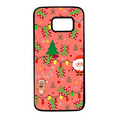 Santa And Rudolph Pattern Samsung Galaxy S7 Black Seamless Case