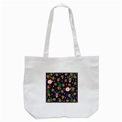 Santa And Rudolph Pattern Tote Bag (white)