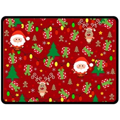 Santa And Rudolph Pattern Double Sided Fleece Blanket (large)