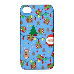 Santa And Rudolph Pattern Apple Iphone 4/4s Hardshell Case With Stand