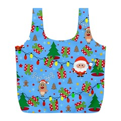 Santa And Rudolph Pattern Full Print Recycle Bags (l)