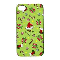 Grinch Pattern Apple Iphone 4/4s Hardshell Case With Stand