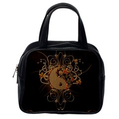 The Sign Ying And Yang With Floral Elements Classic Handbags (one Side)