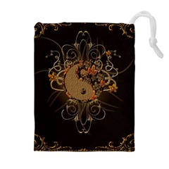The Sign Ying And Yang With Floral Elements Drawstring Pouches (extra Large)