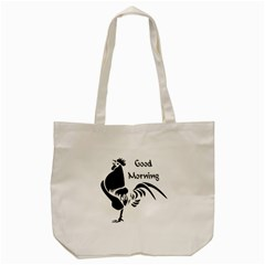Black Rooster Crowing The Good Morning Alarm Tote Bag (cream)