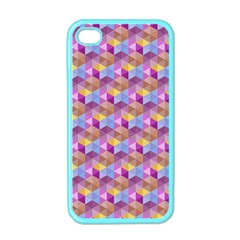 Hexagon Cube Bee Cell Pink Pattern Apple Iphone 4 Case (color)