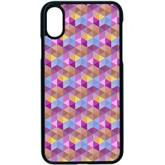 Hexagon Cube Bee Cell Pink Pattern Apple Iphone X Seamless Case (black)