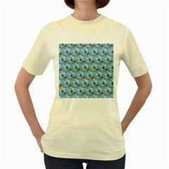 Hexagon Cube Bee Cell  Blue Pattern Women s Yellow T Shirt