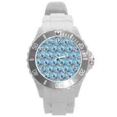 Hexagon Cube Bee Cell  Blue Pattern Round Plastic Sport Watch (l)
