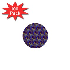Hexagon Cube Bee Cell Purple Pattern 1  Mini Buttons (100 Pack)