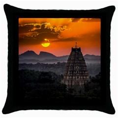 Beautiful Village Of Hampi Throw Pillow Case (black)
