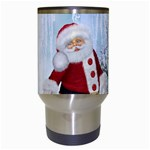 Santa Claus With Funny Penguin Travel Mugs (White) Center