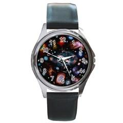 Galaxy Nebula Round Metal Watch