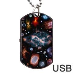 Galaxy Nebula Dog Tag Usb Flash (two Sides)