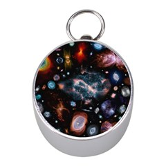 Galaxy Nebula Mini Silver Compasses