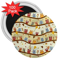 Autumn Owls Pattern 3  Magnets (100 Pack)