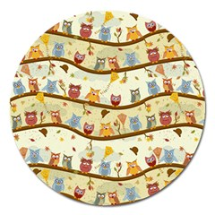 Autumn Owls Pattern Magnet 5  (round)
