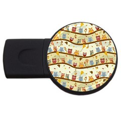 Autumn Owls Pattern Usb Flash Drive Round (4 Gb)