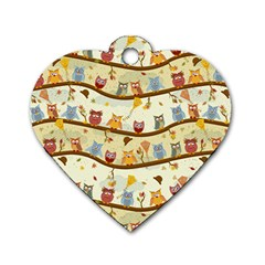 Autumn Owls Pattern Dog Tag Heart (two Sides)