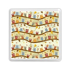 Autumn Owls Pattern Memory Card Reader (square)