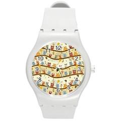 Autumn Owls Pattern Round Plastic Sport Watch (m)