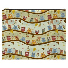 Autumn Owls Pattern Cosmetic Bag (xxxl)