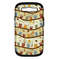Autumn Owls Pattern Samsung Galaxy S Iii Hardshell Case (pc+silicone)