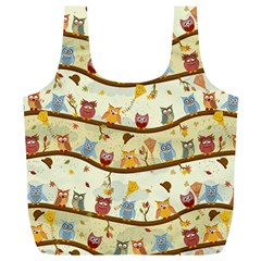 Autumn Owls Pattern Full Print Recycle Bags (l)