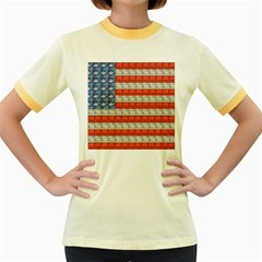 Geometricus Usa Flag Women s Fitted Ringer T Shirts