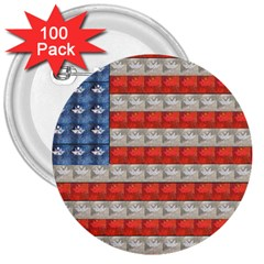 Geometricus Usa Flag 3  Buttons (100 Pack)