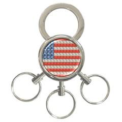 Geometricus Usa Flag 3 Ring Key Chains