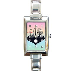 Future City Rectangle Italian Charm Watch