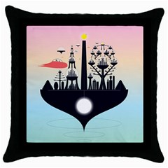Future City Throw Pillow Case (black)