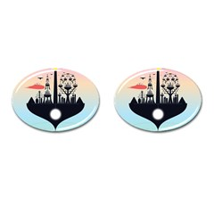 Future City Cufflinks (oval)