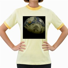 A Sky View Of Earth Women s Fitted Ringer T Shirts